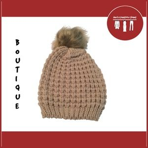 Women's Mocha Waffle Knit Fur Pom Beanie Hat